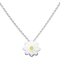 Daisy - Sterling Silver Rhodium Girls Flower Necklace - Includes 14-inch chain/