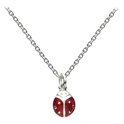 Ladybug - Sterling Silver Rhodium Girls Necklace - Includes 14-inch chain/