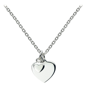 "Gorgeous Girls Double Heart Necklace - Sterling Silver Rhodium - 14"" Chain Adjustable at 14"", 13"", and 12"" - Engravable on the front and back"