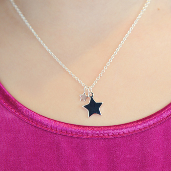 "Gorgeous Girls Double Star Necklace - Sterling Silver Rhodium - 14"" Chain Adjustable at 14"", 13"", and 12"" - Engravable on the front and back"