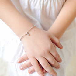 Girls Initial T - Sterling Silver Girls Initial Bracelet - Includes one Genuine Diamond Accented Initial T Charm - Add an optional engravable charm to personalize/