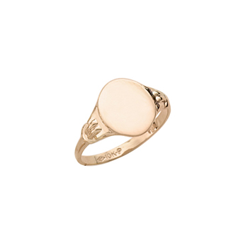 Boys Rings - 10k Yellow Gold Boys Engravable Signet Ring - Oval Ring Face - Size 6