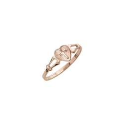 First Communion Heart Cross Ring For Girls - 10K Yellow Gold Girls Cross Ring - Size 4 (4 - 12 years)/