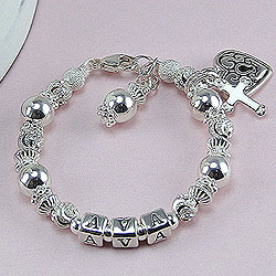 Silver Dreams of an Angel™ – Grow-With-Me® designer bracelet – Sterling silver name bracelet – Personalize with birthstones & charms/