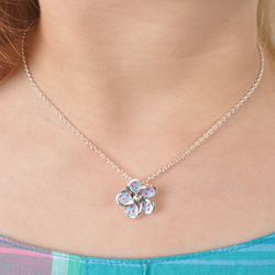 Adorable Flower Windmill Girls Kids Necklace - Sterling Silver Rhodium Chain and Pendant/
