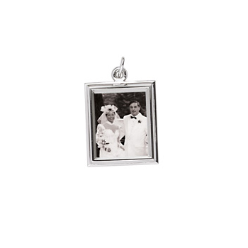 Rembrandt Sterling Silver Large Rectangle (Vertical) PhotoArt Charm – Engravable on back - Add to a bracelet or necklace