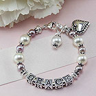 Baby/Children's Pearl Name Bracelet - Sterling Silver