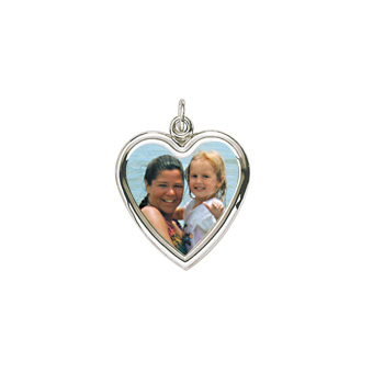 Rembrandt Sterling Silver Large Heart PhotoArt Charm – Engravable on back - Add to a bracelet or necklace