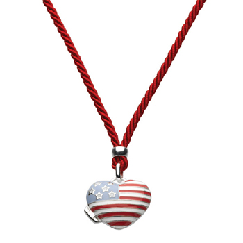 "USA - Silver Stars and Stripes American Flag Heart Locket Necklace - Sterling Silver Rhodium Girls Heart Locket Necklace - 30"" Adjustable Cord - BEST SELLER"