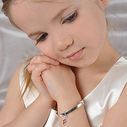 A First Communion Favorite - Beautiful Sterling Silver Rhodium Diamond Cross First Communion Bangle Bracelet for Girls - Size 5.25