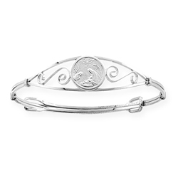 Guardian Angel Baby / Children's Christening Bangle Bracelet - Sterling Silver/