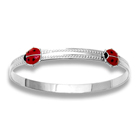 Keepsake Adjustable Bracelets - High Polished Sterling Silver Rhodium Red Ladybugs Adjustable Bangle Bracelet - One bracelet fits baby, toddler, and child up to 5 years