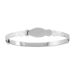 Keepsake Adjustable Bracelets - High Polished Sterling Silver Rhodium Adjustable Bangle Bracelet - Engravable on front - One bracelet fits baby, toddler, and child up to 7 years/