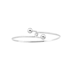 Baby Toddler Bypass Bracelet - High Polished Sterling Silver Rhodium - Size 4.5
