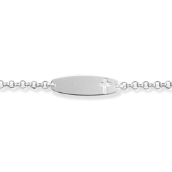 Engravable Identification Bracelets for Girls and Boys - High Polished Sterling Silver Rhodium Cross ID Bracelet - Engravable on front - Size 6.25