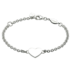 Engravable Identification Bracelets for Girls - High Polished Sterling Silver Rhodium Heart ID Bracelet - Engravable on front - Size 5.5