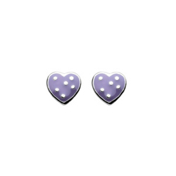 Adorable Purple Polka Dotted Enameled Girls Heart Earrings - Sterling Silver Rhodium - Push-Back Posts/