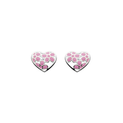Perfect Flower Girl Pink Flowers Enameled Girls Heart Earrings - Sterling Silver Rhodium - Push-Back Posts - BEST SELLER/