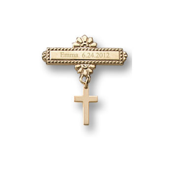 Baby Cross - Christening / Baptism Pin - 14K Yellow Gold