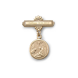 Guardian Angel - Christening / Baptism Pin - 14K Yellow Gold/