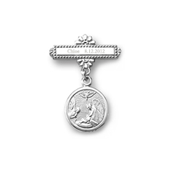 Guardian Angel - Christening / Baptism Pin - 14K White Gold/
