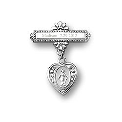 Heart Miraculous Medal - Christening / Baptism Pin - 14K White Gold/