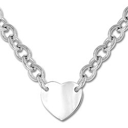 Exquisite Heirloom Heart Chain Necklace to Love - Sterling Silver Rhodium Heart Pendant - Engravable on front and back - 18