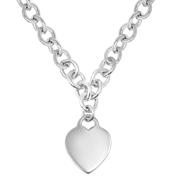 "Exquisite Heirloom Heart Chain Necklace to Love - Sterling Silver Rhodium Heart Pendant - Engravable on front and back - 16"" Chain Included"