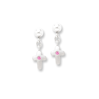Dangle Cross Genuine Pink Sapphire Earrings for Girls - Sterling Silver Rhodium Earrings with Push-Back Posts - BEST SELLER