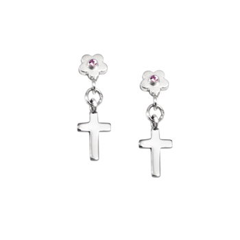 Dangle Cross Pink Sapphire Earrings for Girls - Sterling Silver Rhodium Earrings with Push-Back Posts