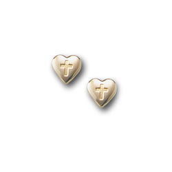 Gold Heart Cross Earrings for Girls - 14K Yellow Gold Screw Back Earrings for Baby, Toddler, Child/
