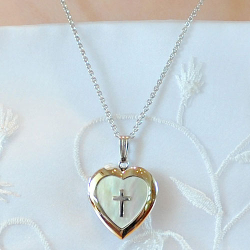 Fine Heirloom First Communion Mother of Pearl 19mm Heart Photo Locket for Girls - Sterling Silver Rhodium - Engravable on back - Includes an 18-inch adjustable chain