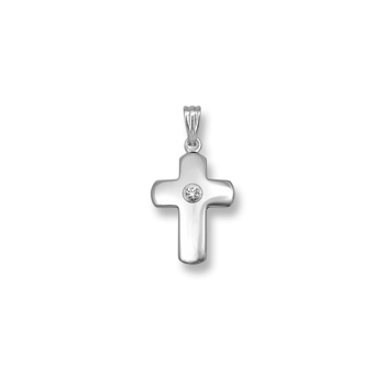 "Heirloom Diamond Cross - 14K White Gold Cross with 3-Point Genuine Diamond - 14K White Gold 18"" Chain Included"
