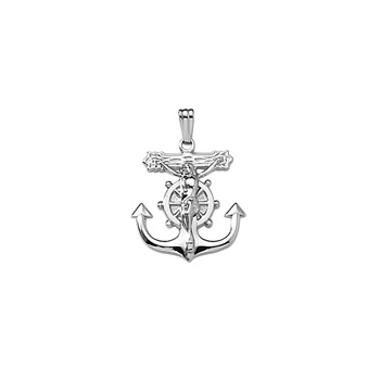 "Baptism Gifts for Boys - Boys Large Sterling Silver Rhodium Mariner's Crucifix Cross - Includes 20"" Stainless (White) Chain - BEST SELLER"
