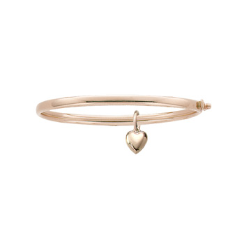 "Fine Toddler Bracelets - 14K Yellow Gold Baby, Toddler Bangle Bracelet with Heart Charm - Size 5.25"" - BEST SELLER"