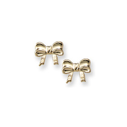 Gold Bow Earrings for Girls - 14K Yellow Gold Screw Back Earrings for Baby, Toddler, Child/