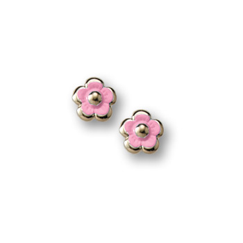 Gold Pink Enamelded Flower Earrings for Girls - 14K Yellow Gold Screw Back Earrings for Baby, Toddler, Child