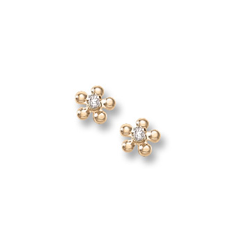 Girls Elegant Flower Girl Keepsakes™ - .04 ct. tw. Diamond 14K Yellow Gold Screw Back Diamond Flower Earrings for Baby, Toddler, and Child - Safety threaded screw back post