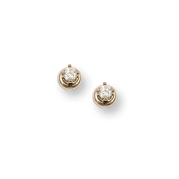 Gorgeous Diamond Earrings for Baby and Toddler Girls - .08 ct. tw. Diamond 14K Yellow Gold Screw Back Diamond Earrings for Babies & Toddlers - Safety threaded screw back post - BEST SELLER