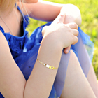 Adorable Child Heart ID Bracelet - 14K Yellow Gold - Anchor Link - Personalized Girls Toddler, Kids ID Bracelet - Size 5.5