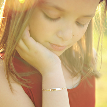 "Elegant Heirloom Girls 14K Yellow Gold Personalized Kids ID Bracelet - Anchor Link - Size 6"" (SM Child - 13 years) - BEST SELLER"