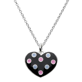 "Adorable Black Polka Dotted Enameled Girls Heart Necklace - Sterling Silver Rhodium - 16"" chain included"