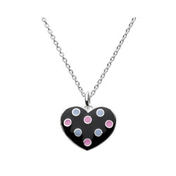 Adorable Black Polka Dotted Enameled Girls Heart Necklace - Sterling Silver Rhodium - 16