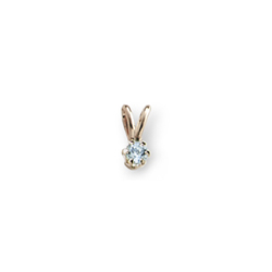 Little Girls Birthstone Necklaces - March Birthstone -14K Yellow Gold Genuine Aquamarine Gemstone 3mm - Includes a 15