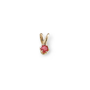"Little Girls Birthstone Necklaces - July Birthstone - 14K Yellow Gold Genuine Ruby Gemstone 3mm - Includes a 15"" 14K Yellow Gold Rope Chain - BEST SELLER"