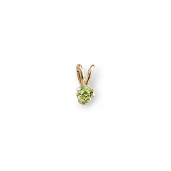 "Little Girls Birthstone Necklaces - August Peridot - 14K Yellow Gold Genuine Peridot Gemstone 3mm - Includes a 15"" 14K Yellow Gold Rope Chain"