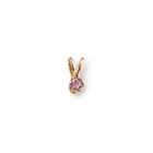 Little Girls Birthstone Necklaces - October Birthstone - 14K Yellow Gold Genuine Pink Tourmaline Gemstone 3mm - Includes a 15