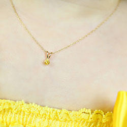 Little Girls Birthstone Necklaces - November Birthstone - 14K Yellow Gold Genuine Citrine Gemstone 3mm - Includes a 15