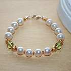Exquisite Josephine™ by My First Pearls® Baby Bracelet - 22K yellow gold – Grow-With-Me® designer original freshwater cultured pearl baby bracelet – Personalize with gemstones & charm