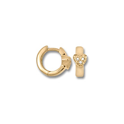 Genuine Diamond Huggies - 14K Yellow Gold Heart Huggie Hoop Earrings for Girls - (Baby - Teen) - BEST SELLER/